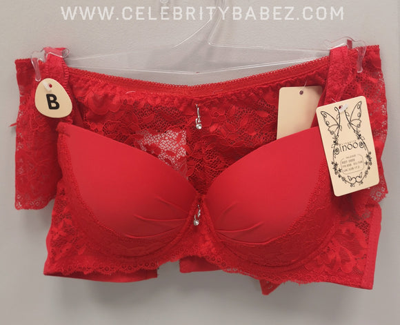 Lace And Diamante Bra Set With French Knickers In Red