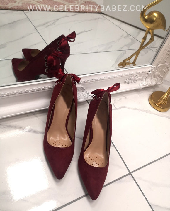 Suedette Stiletto Heel Court Shoe In Wine