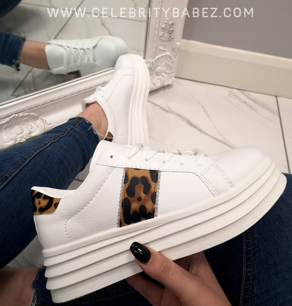 Platform Trainer With Leopard Stripe In White