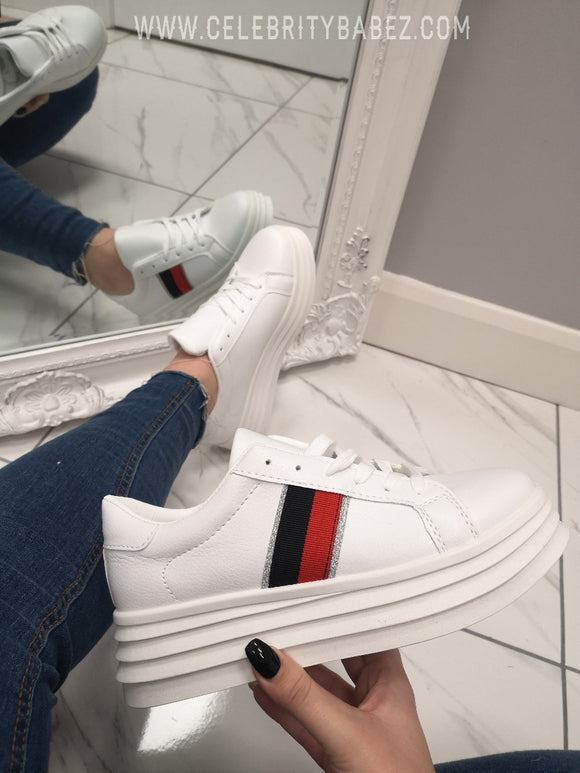 Platform Trainer With Stripe In White