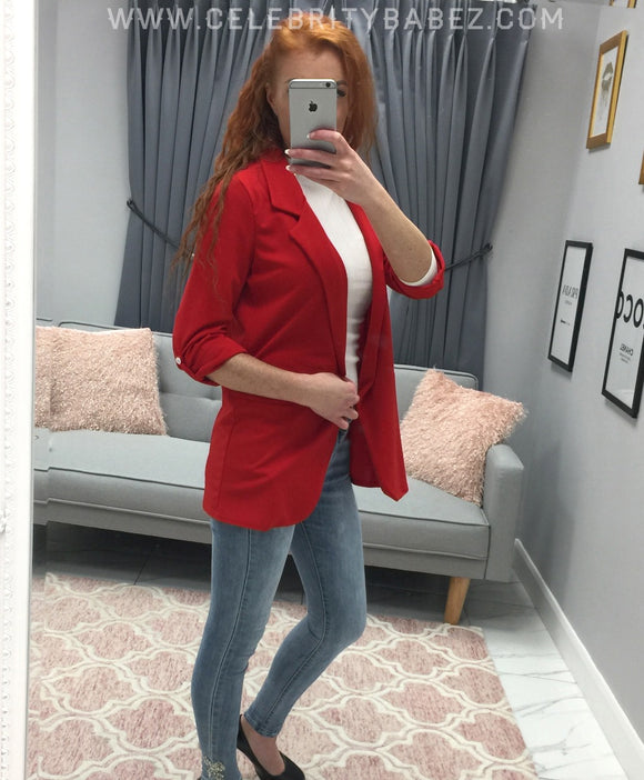 Slouch Blazer In Red