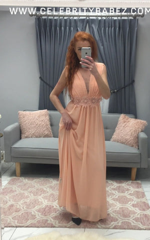 Floral Waistband Prom Dress In Peach