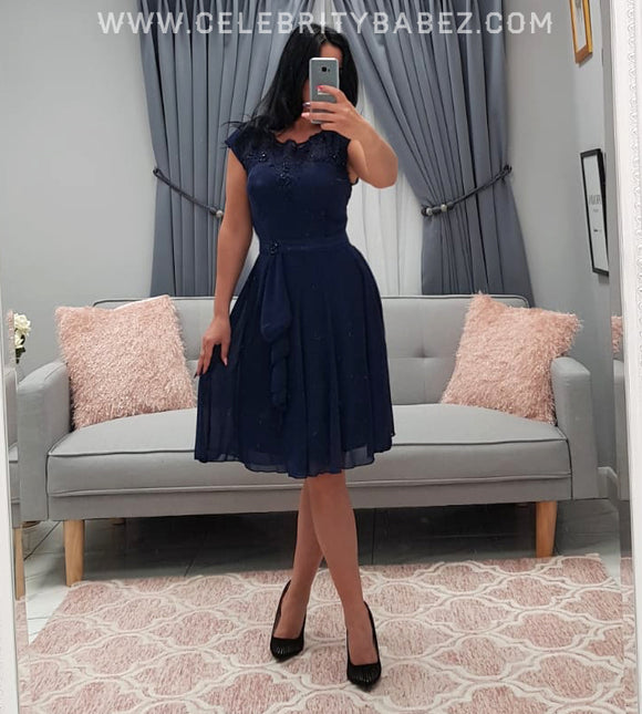 Lace And Diamante Knee Length Prom Dress In Navy