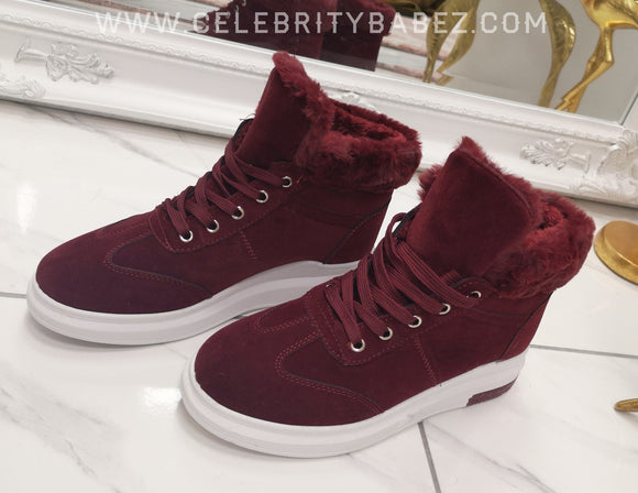 Suedette Fur Trimmed High Top Trainer In Wine