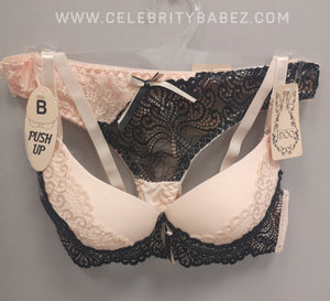Padded Lace Bra And Matching Thong In Peach And Black