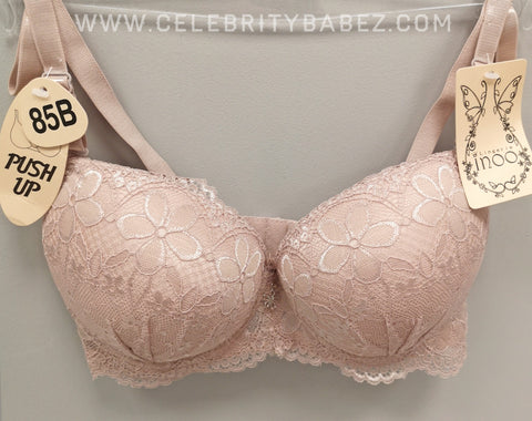 Lace Push Up Flower Detail Bra Set In Nude
