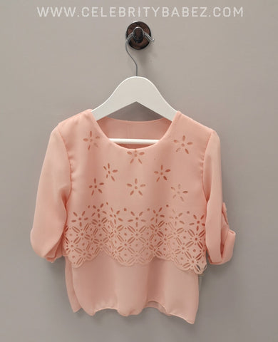 Chiffon Laser Cut Top In Pink