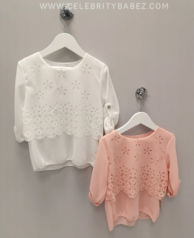 Chiffon Laser Cut Top In White