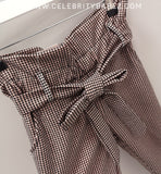 Dogtooth Paper Bag Trousers In Pink
