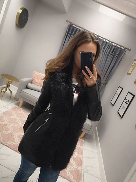 Long Line Leatherette Jacket With Fur Trim In Black