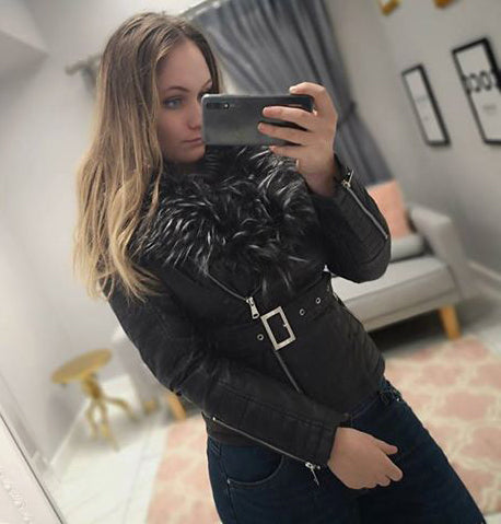 Leatherette And Faux Fur Jacket In Black/Charcoal