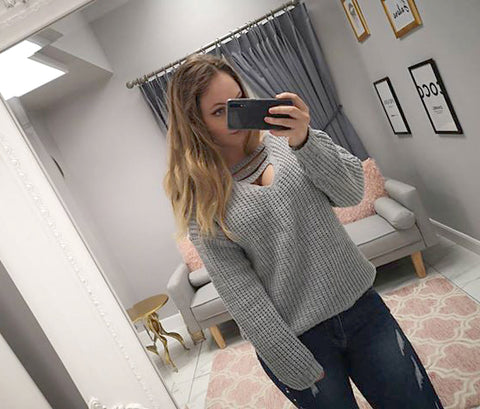 Chunky Knit Hooded Jumper In Grey