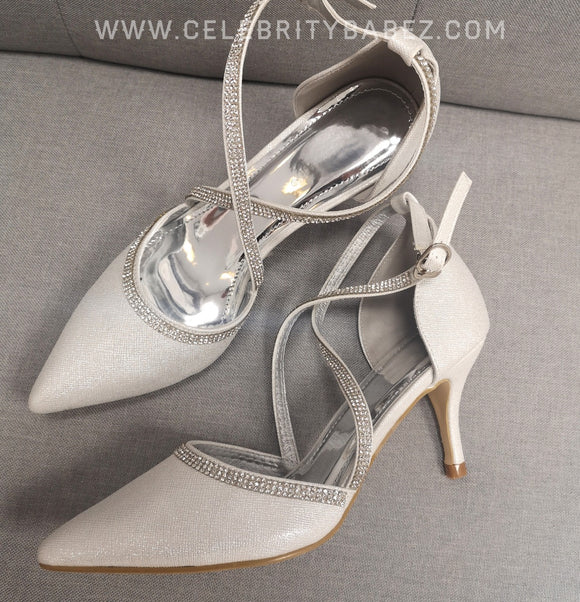 Shimmer Cross Over Diamante Shoe In Silver