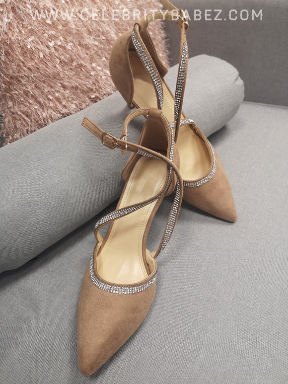 Suedette Cross Over Diamante Shoe In Tan