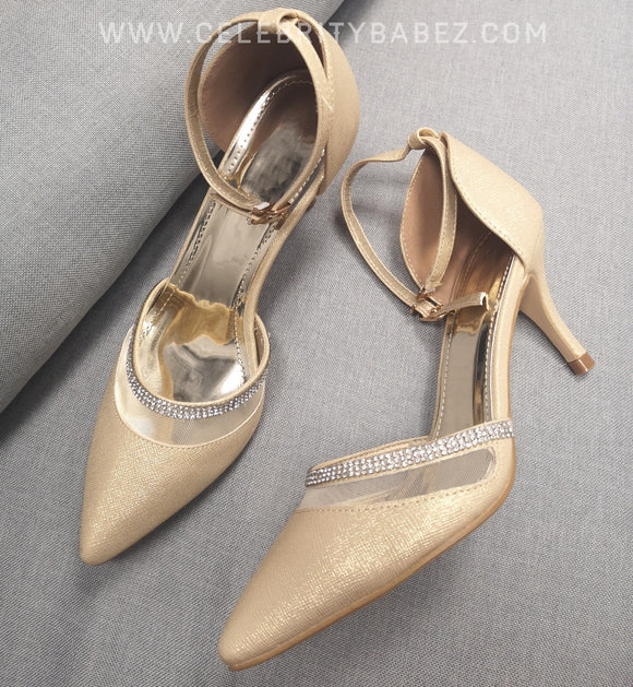 Kitten Heel Diamante Shoe In Gold