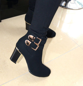 Heeled Gold Buckle Ankle Boot