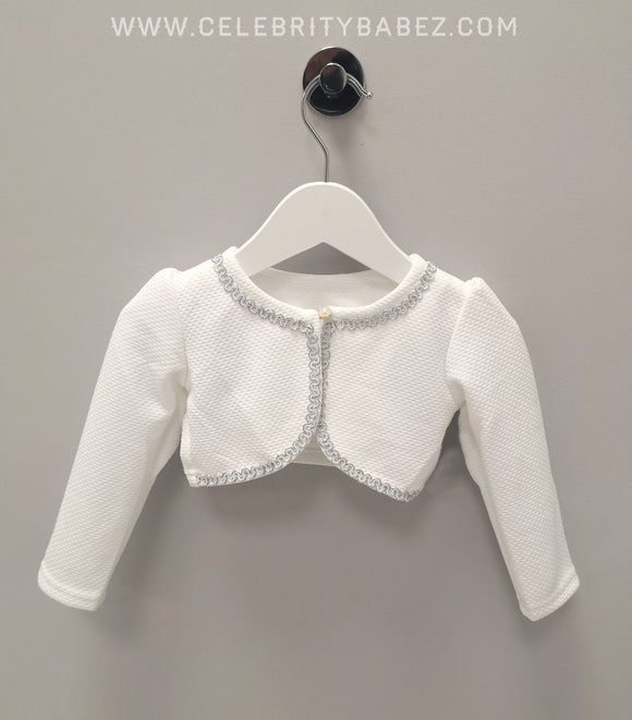 Bolero With Pearl Fastening In White