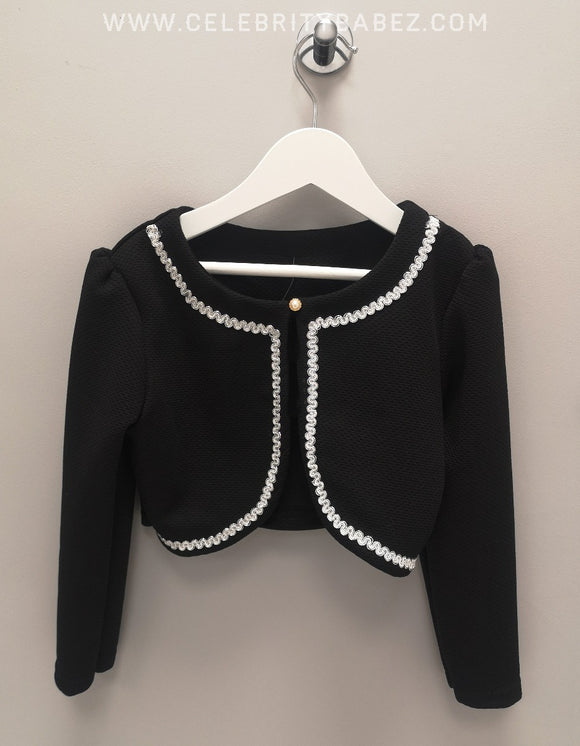 Bolero With Pearl Fastening In Black