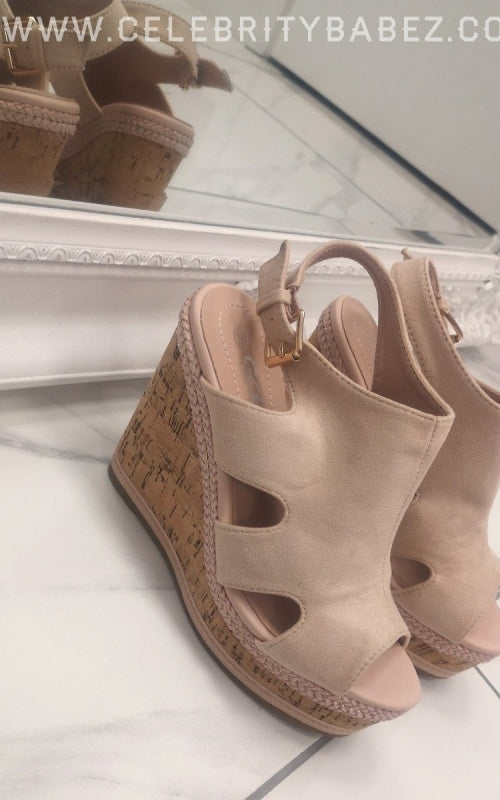 Cork Wedge Suedette Shoe In Beige