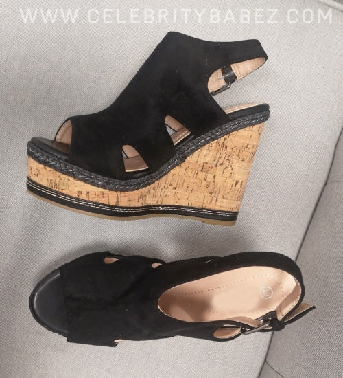 Cork Wedge Suedette Shoe In Black