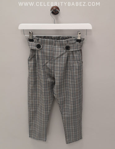 Check Paper Bag Trousers In Grey