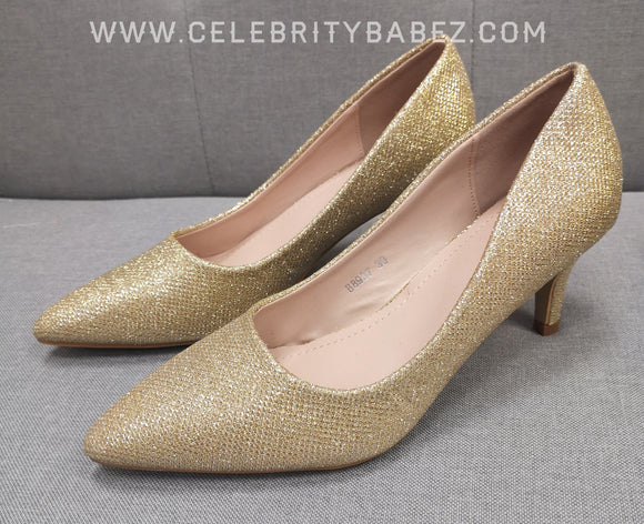 Glitter Kitten Heel Court Shoe In Gold