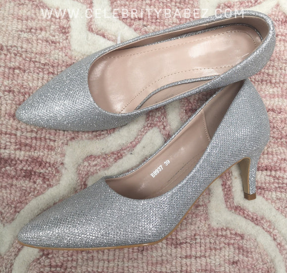 Glitter Kitten Heel Court Shoe In Silver