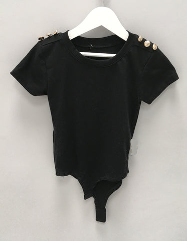 Girls Black Button Detail Bodysuit
