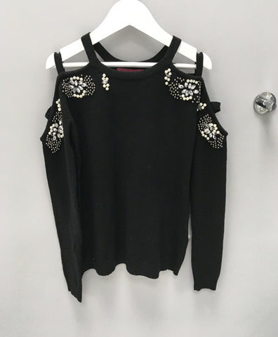 Black Cold Shoulder Embellished Jumper
