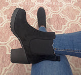 Chunky Suedette Ankle Boot In Black