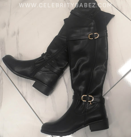 Leatherette Knee High Boots With Gold Buckles In Black