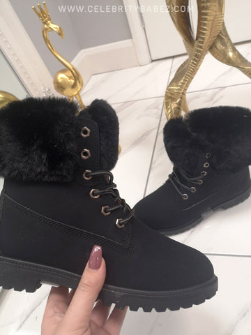 Fur Trimmed Worker Boots In Black
