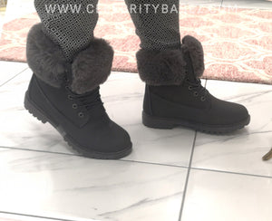 Fur Trimmed Worker Boots In Grey