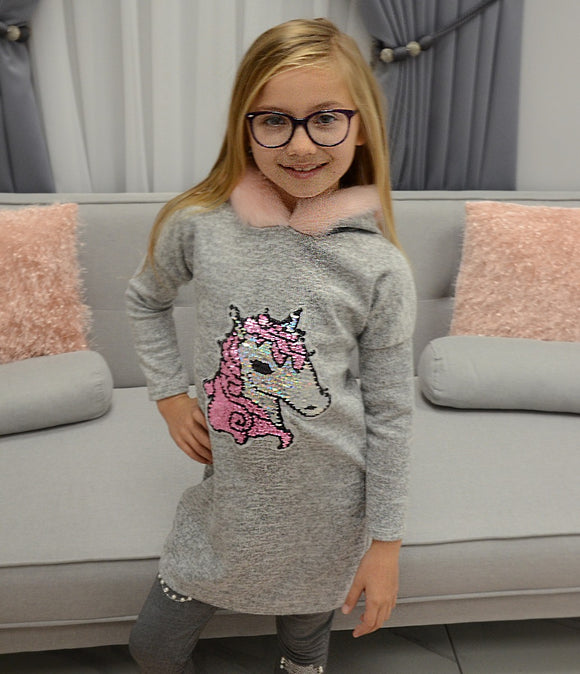 Hooded Unicorn Jumper In Grey