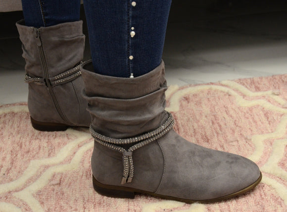 Diamante Rope Slouch Boot In Grey
