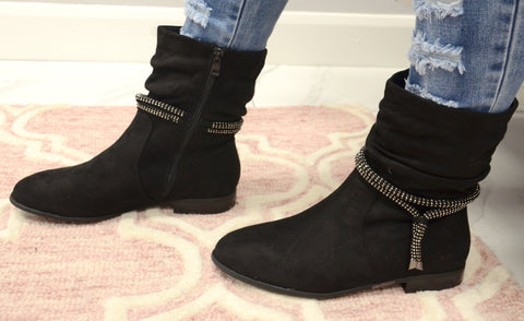 Diamante Rope Slouch Boot In Black