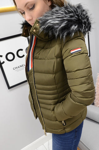 Quilted Fur Hood Jacket In Khaki