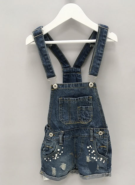 Blue Pearl Frayed Short Dungarees