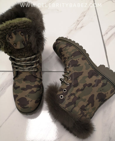 Chunky Lace Up Camouflage Boot