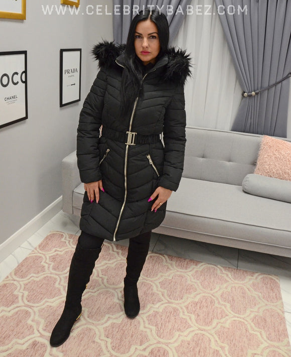 Long Puffer Jacket With Faux Fur Hood In Black