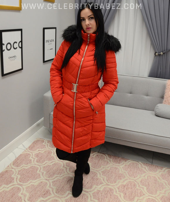 Long Puffer Jacket With Faux Fur Hood In Red