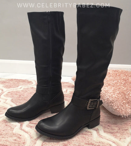 Knee High Leatherette Boots In Black