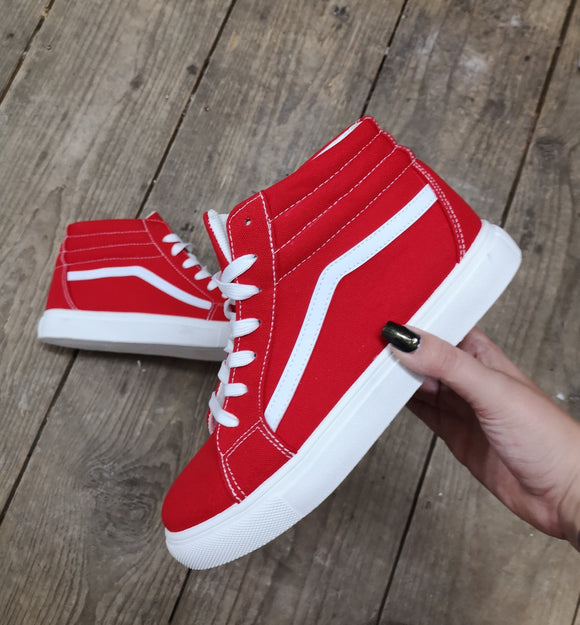 High Top Canvas Trainer In Red