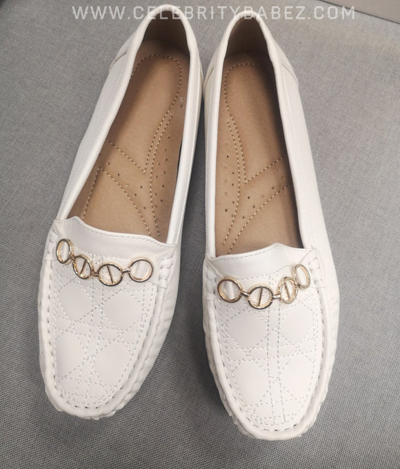 Stitch Detail Loafer In White