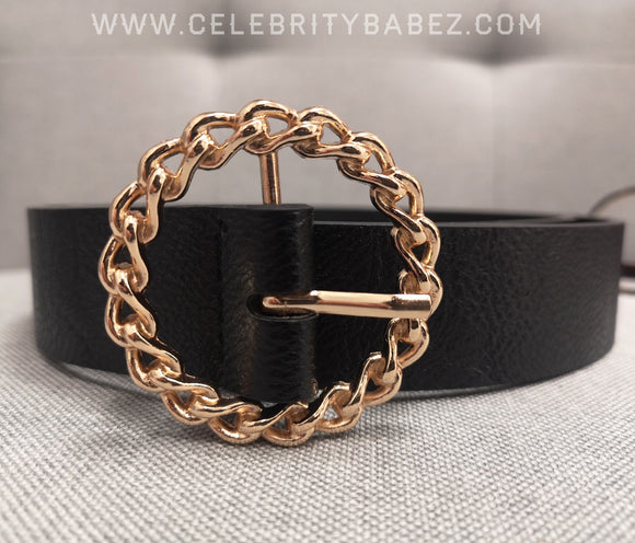 Leatherette Belt With Gold Buckle