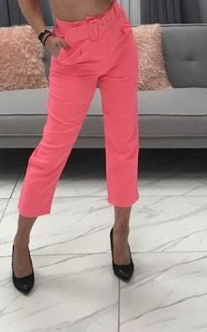 Neon Pink Belted Pocket Trousers