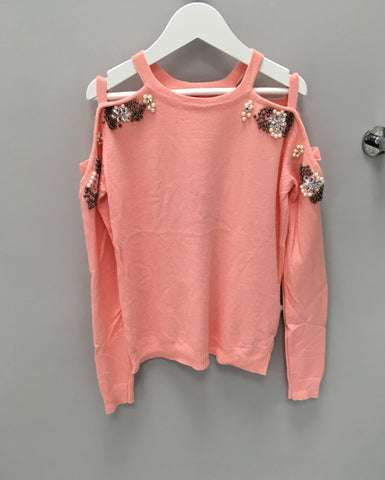 Pink Cold Shoulder Embellished Jumper
