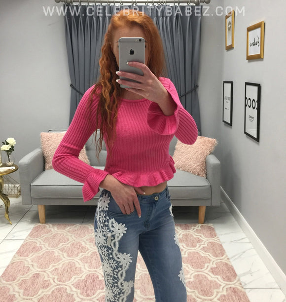 Frill Trim Jumper In Pink