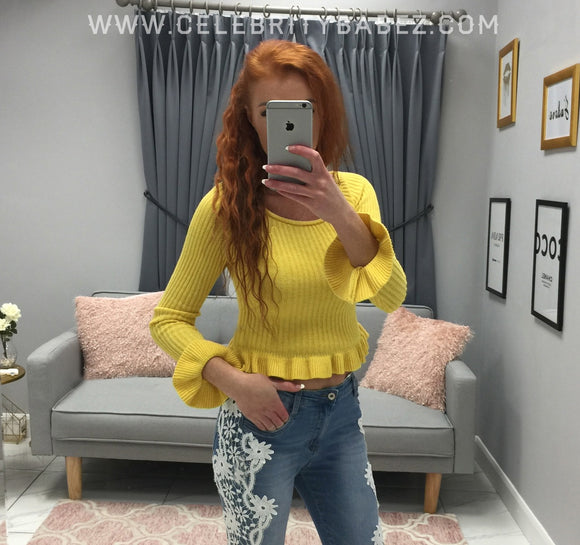 Frill Trim Jumper In Yellow