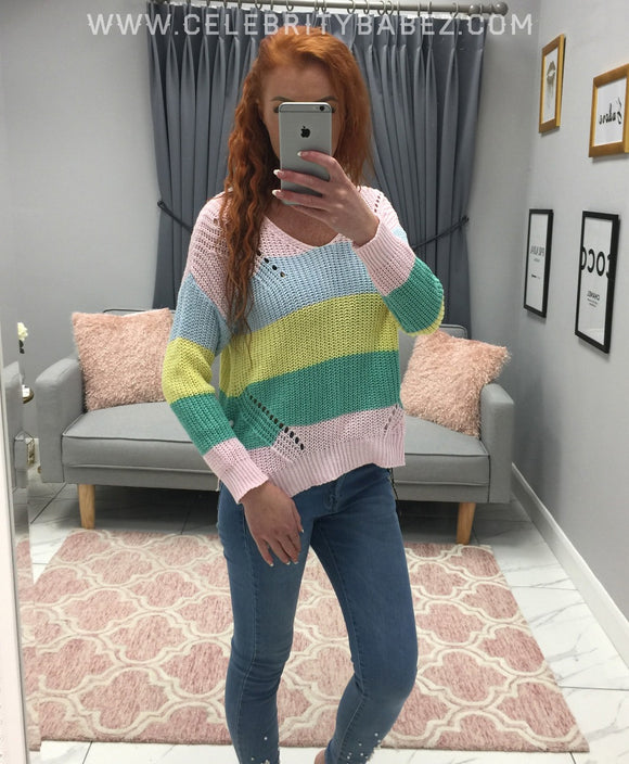 Chunky Knit Striped Jumper In Pink